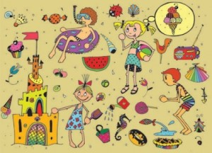 cartoon_kids_in_summer_01_vector_160277